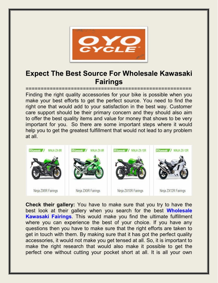 expect the best source for wholesale kawasaki n.