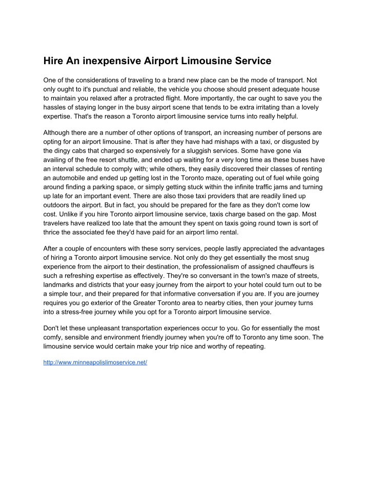 hire an inexpensive airport limousine service n.