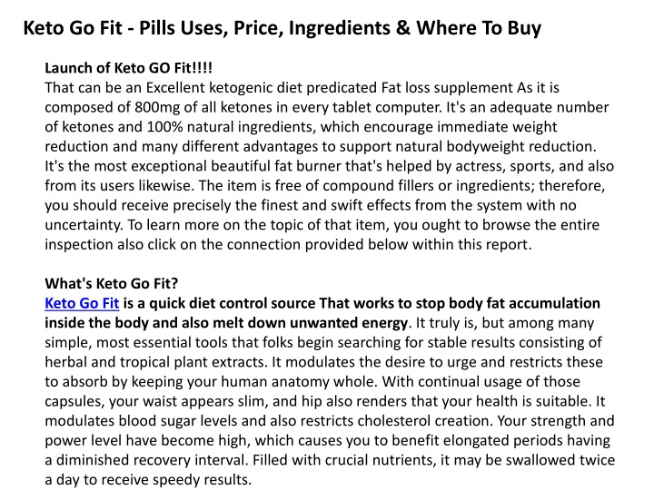 keto go fit pills uses price ingredients where n.