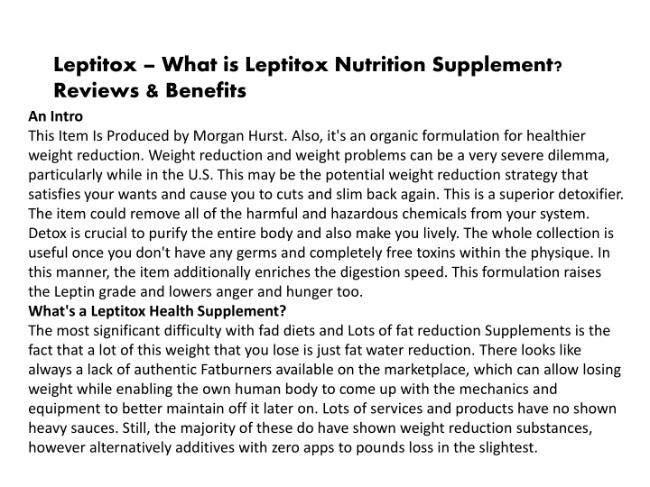 leptitox what is leptitox nutrition supplement n.