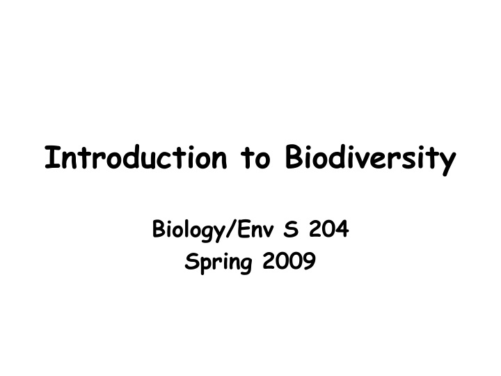 introduction to biodiversity n.
