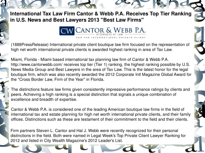 international tax law firm cantor webb n.